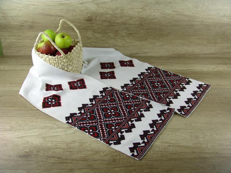 Ukrainian embroidery vintage rushnyk, Hand embroidered Ukrainian decor, Red counted cross stitch rushnyk towel, Ukrainian wedding vintage