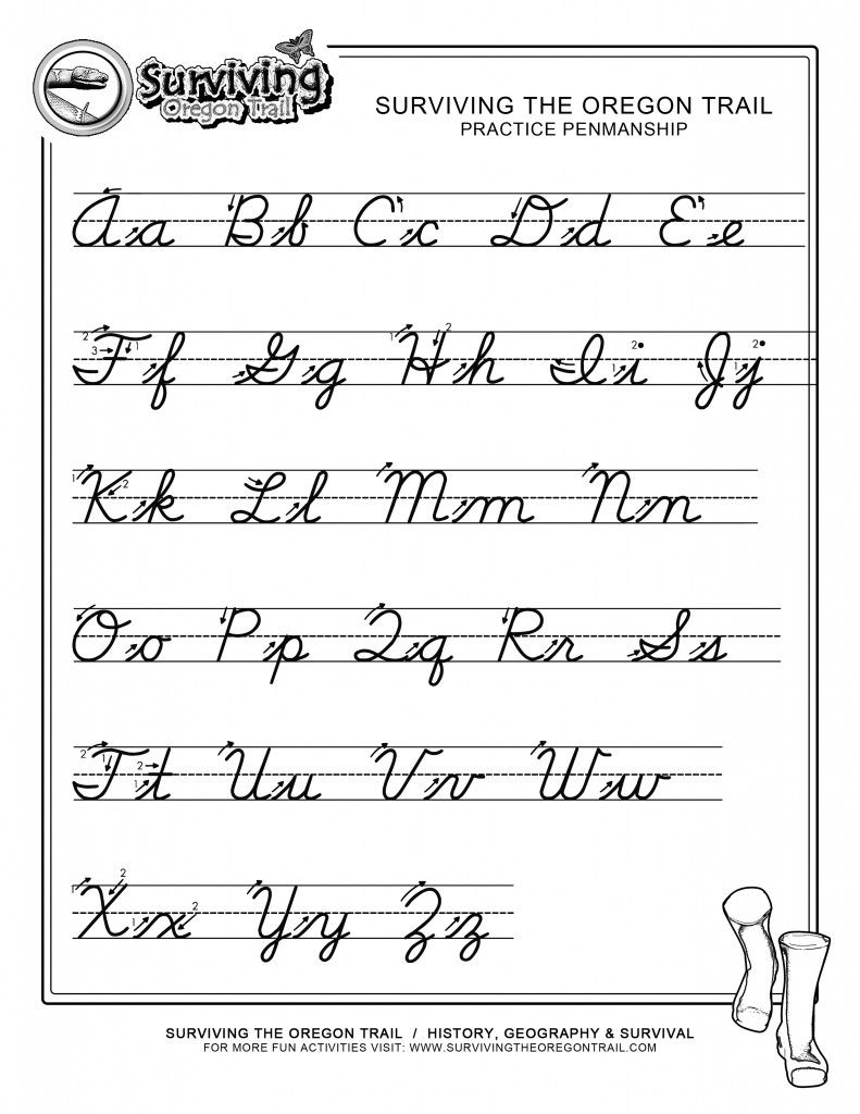 Worksheets Learn Cursive Worksheets cursive a z extra large print school pinterest practice penmanship free abcs printable writing worksheet x surviving the oregon trail