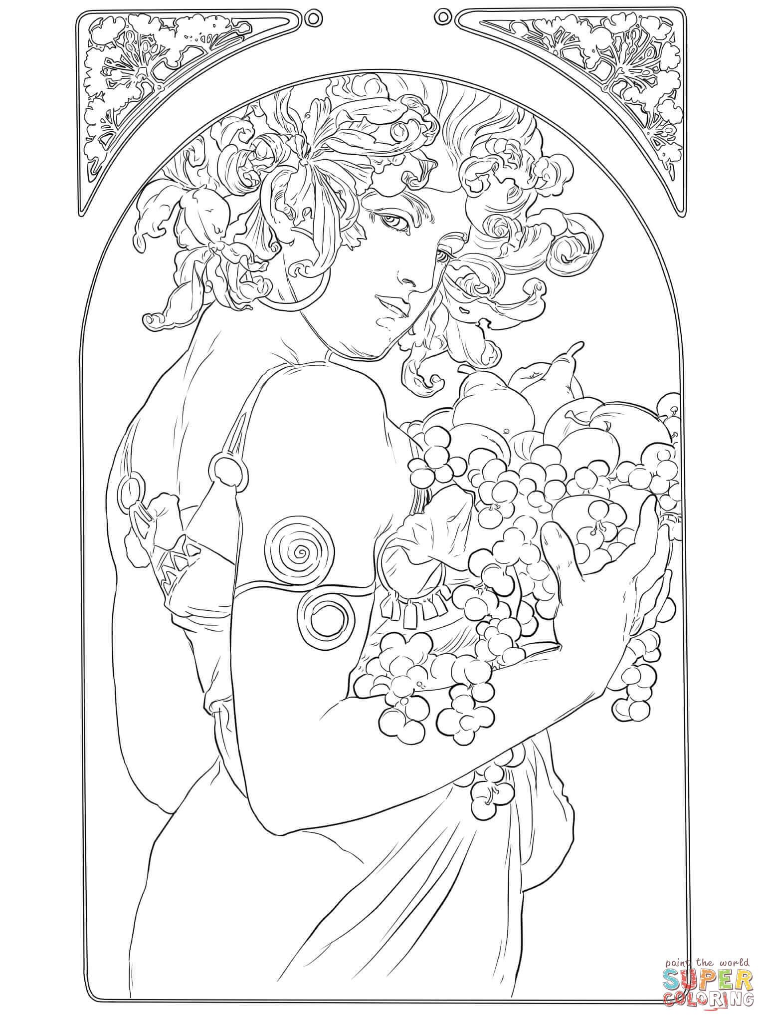- Fruit By Alphonse Mucha Coloring Page Free Printable Coloring