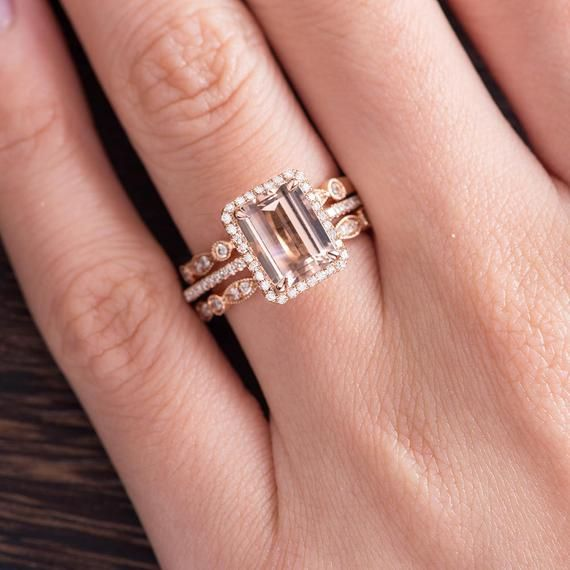 Photo of Morganite Engagement Ring Set Art Deco Wedding Band Ring | Etsy