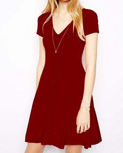 Casual V-Neck Solid Color Single-breasted Short Sleeve Dress For Women, WINE RED, L in Dresses 2014 | DressLily.com