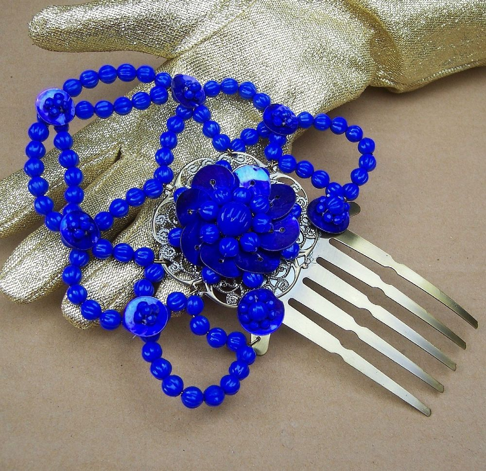 Hair comb peineta dark blue beaded Spanish mantilla style hair accessory