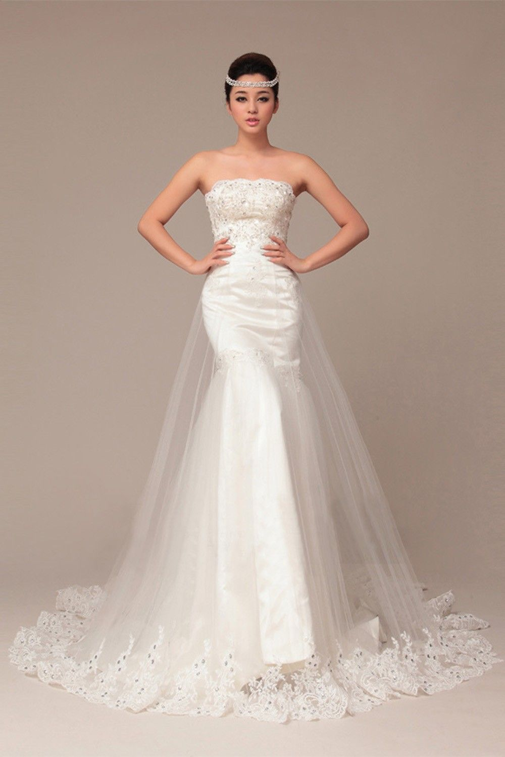 Mermaid Sweetheart Sleeveless Crystal Cathedral Train Wedding Dress In Love