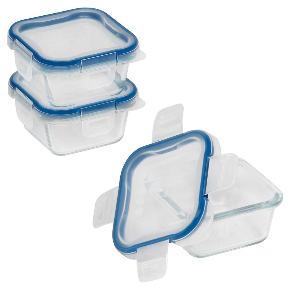 Snapware Total Solutions 1 Cup Glass Square Storage Container 3 Pack 1109328 Glass Storage Containers Food Storage Containers Storage Containers