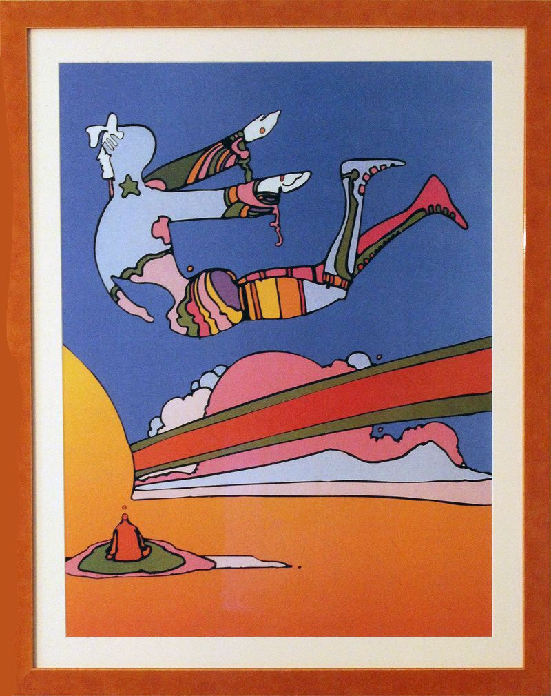 """""""Cosmic Flyer"""" by Peter Max (poster print, psychedelic art). Just think of the psychedelic art of the 1960s and 1970s, and the name that comes readily to mind is Peter Max. He is a master of the art style and remains an iconic figure in the annals of art history and pop culture."""