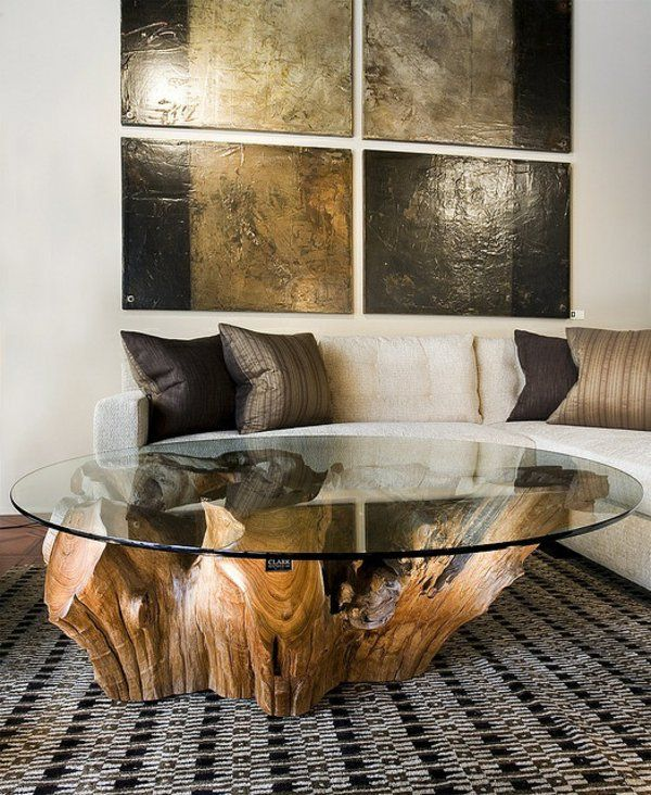 Couchtische Massivholz Baumstamm Rund Glasplatte Mehr Glastisch