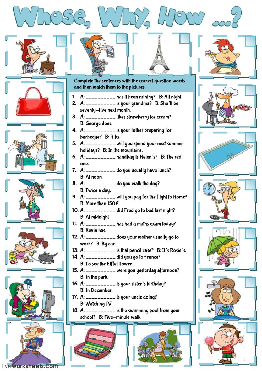 Question words interactive and downloadable worksheet. You ...