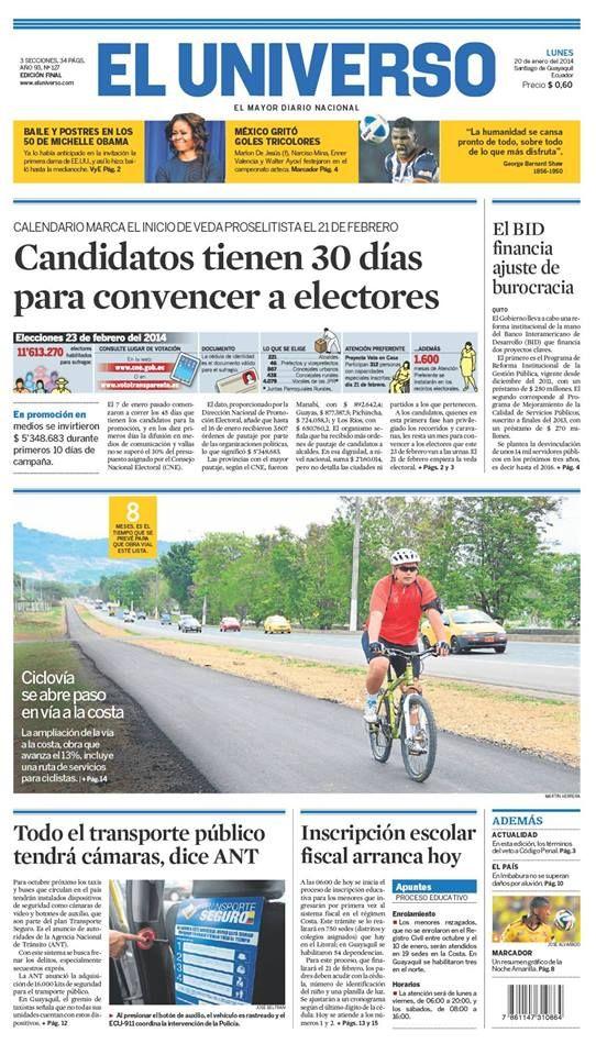 Portada De Diarioeluniverso Del Lunes 20 De Enero Del 2013 Las Noticias De Ecuador Y El Mundo En Www Eluniverso Com