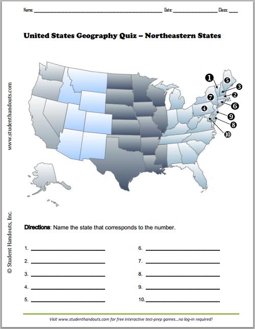 Northeastern States Map Worksheet Free to print PDF file Grades