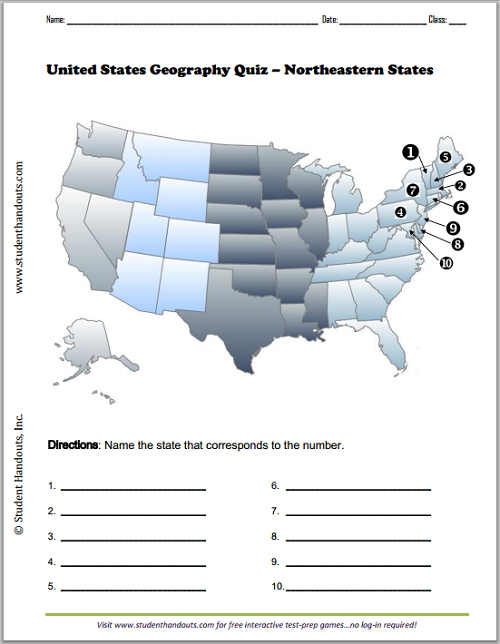 Northeastern States Map Worksheet Free To Print Pdf File