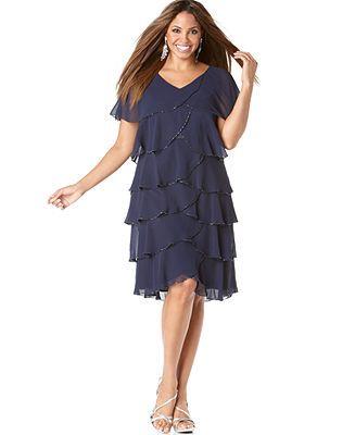 Patra Plus Size Dress, Beaded Tiered Evening Dress - Plus ...