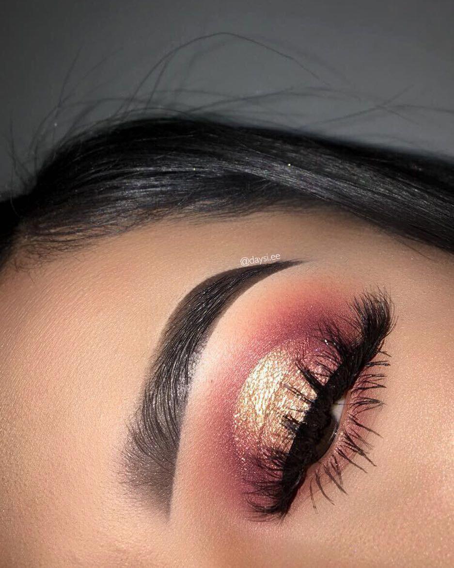 Eye Makeup red n gold eye makeup