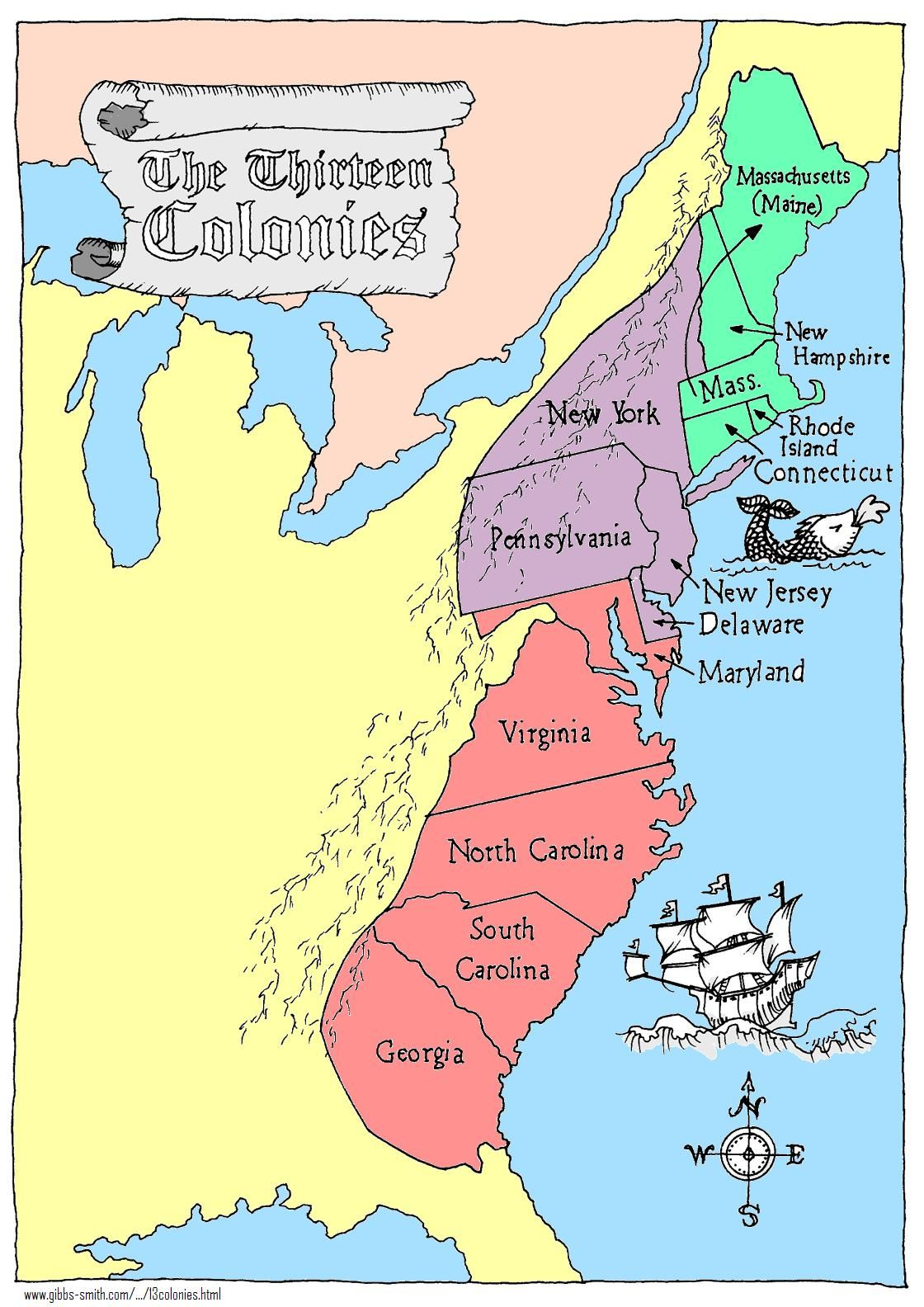 Thirteen Colonies Map Rd Quarter Student Teaching Pinterest - Us colonies and england world map