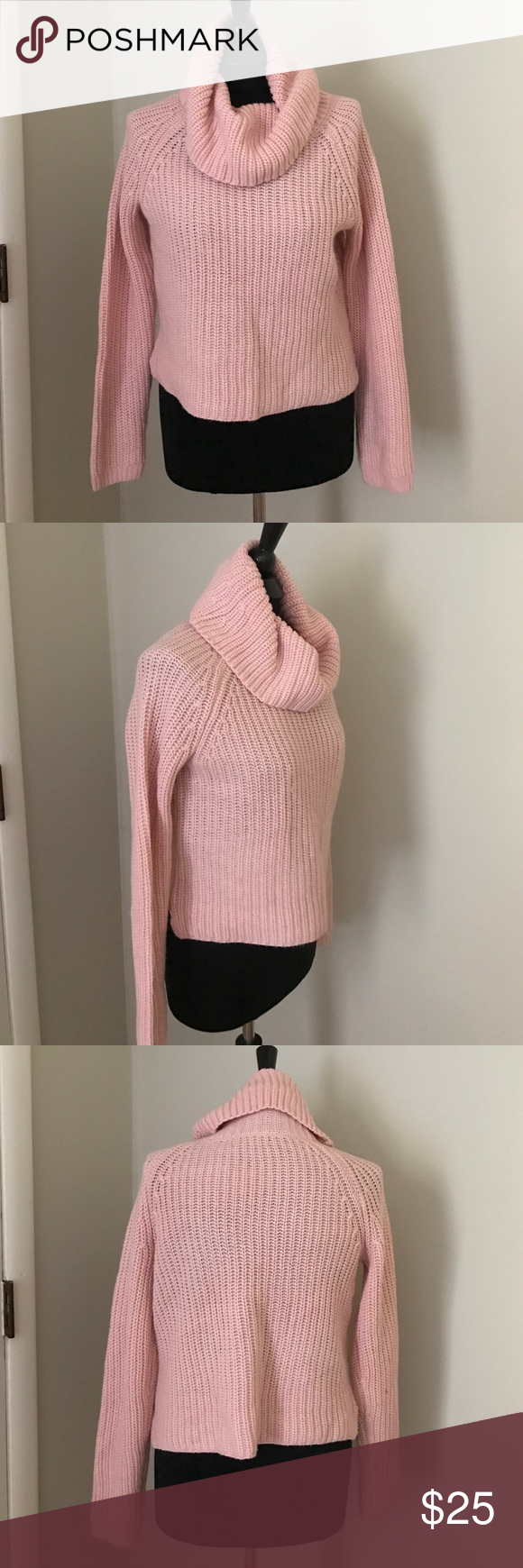 Cropped Pink Sweater Cozy and cute pink sweater. Slightly cropped ...