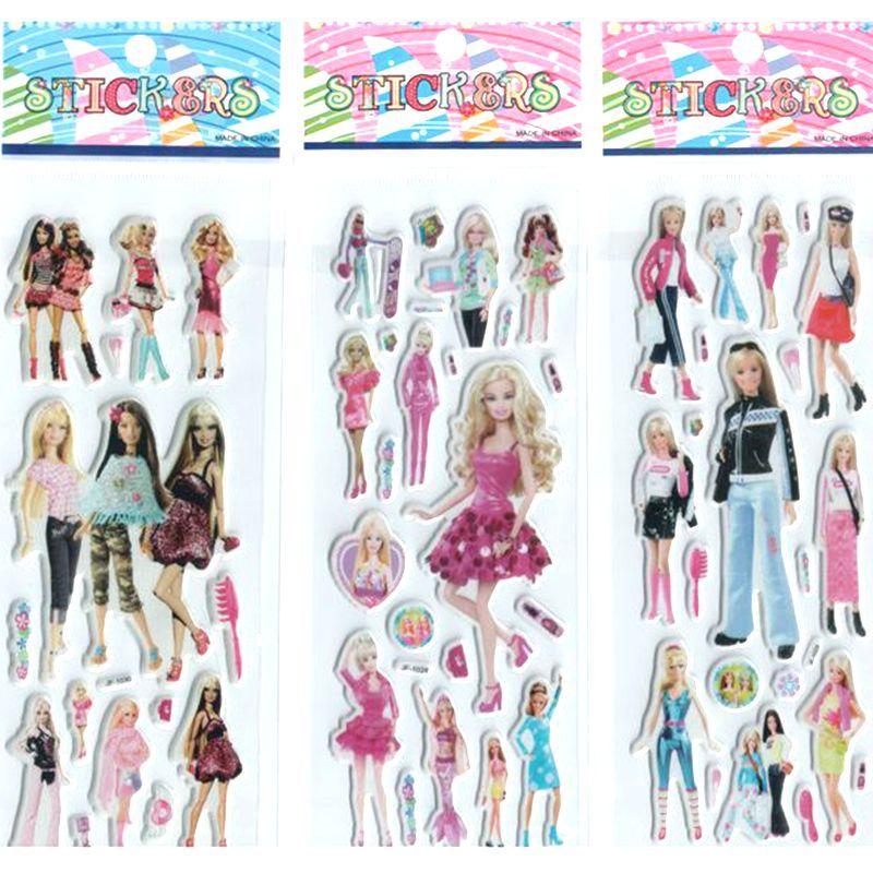 3 개/몫 큰 선물 소녀 아기 만화 스티커 공주 장난감 인형 가와이이 선물 세트 장식 아름다운 선물 # ST016