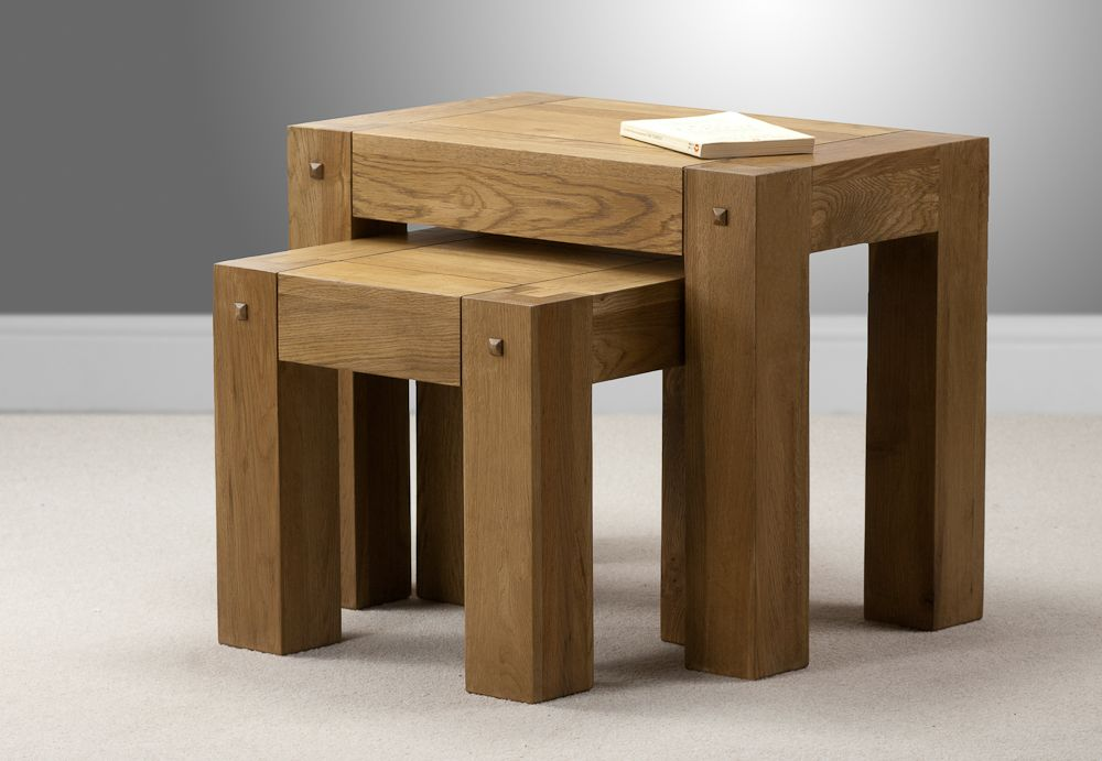 Quercus Solid Oak Furniture Range Occasional Table Nest Of