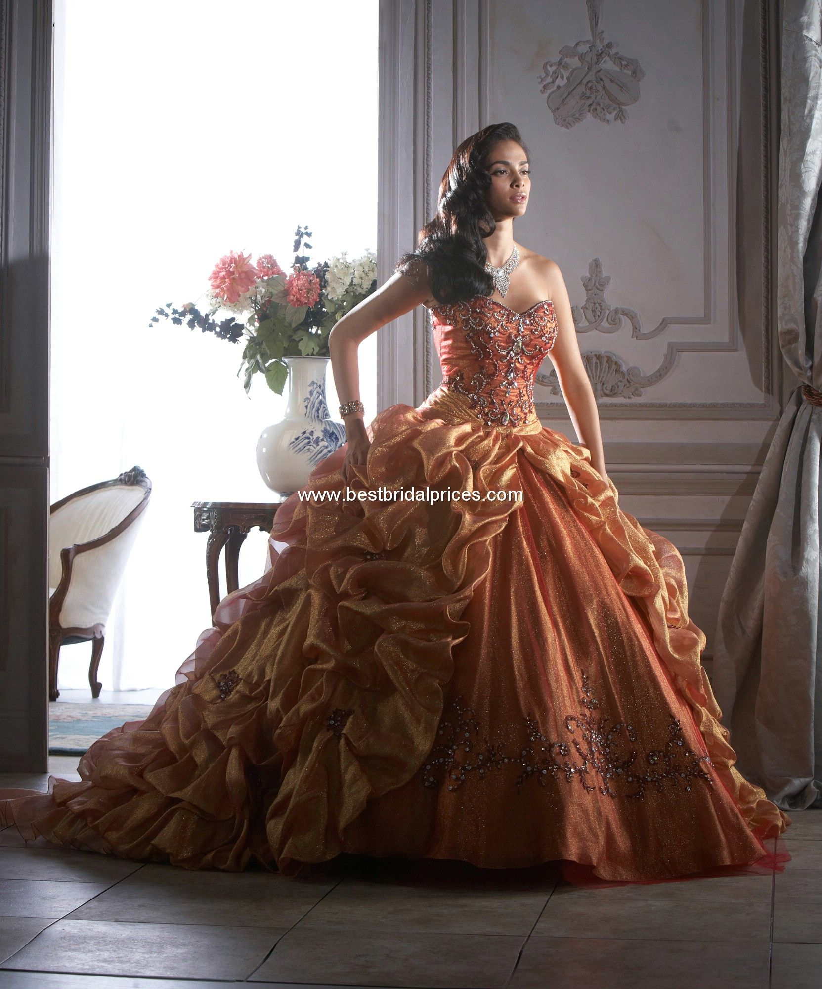 Quinceanera dress fall strapless sweetheart with detachable