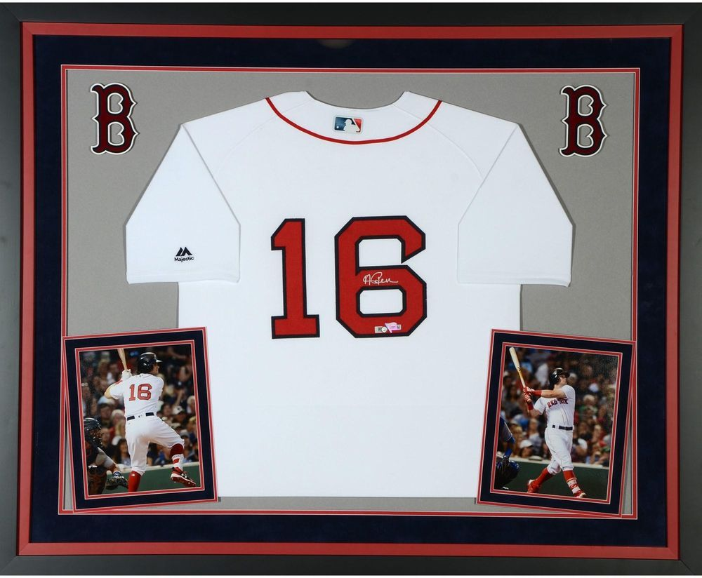 307393bcc Andrew Benintendi Boston Red Sox Framed Signed Majestic White Jersey -  Fanatics  Baseball