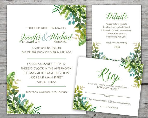 Greenery Wedding Invitation Set With Invitation, Details And RSVP Card By  PartyMonkey On Etsy
