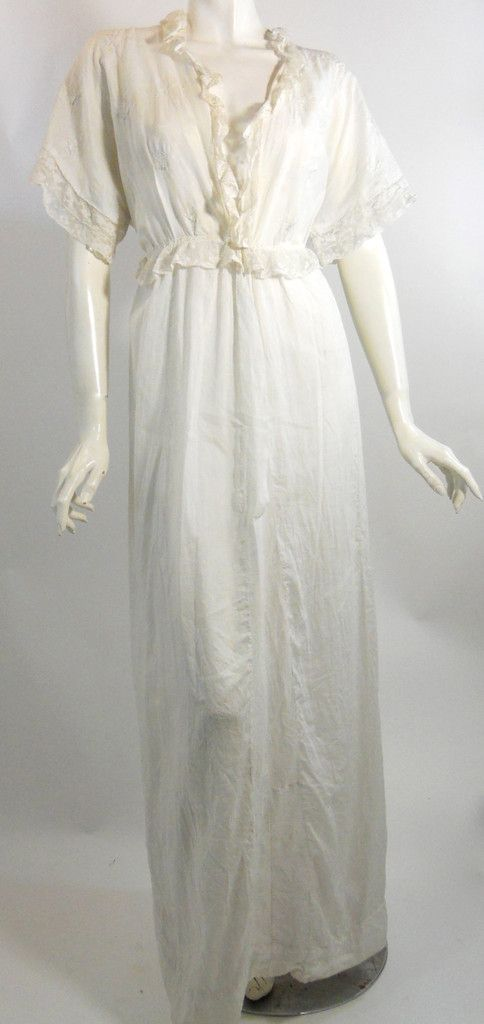 White Butterfly Embroidered Lawn Cotton Edwardian Dressing Gown ...