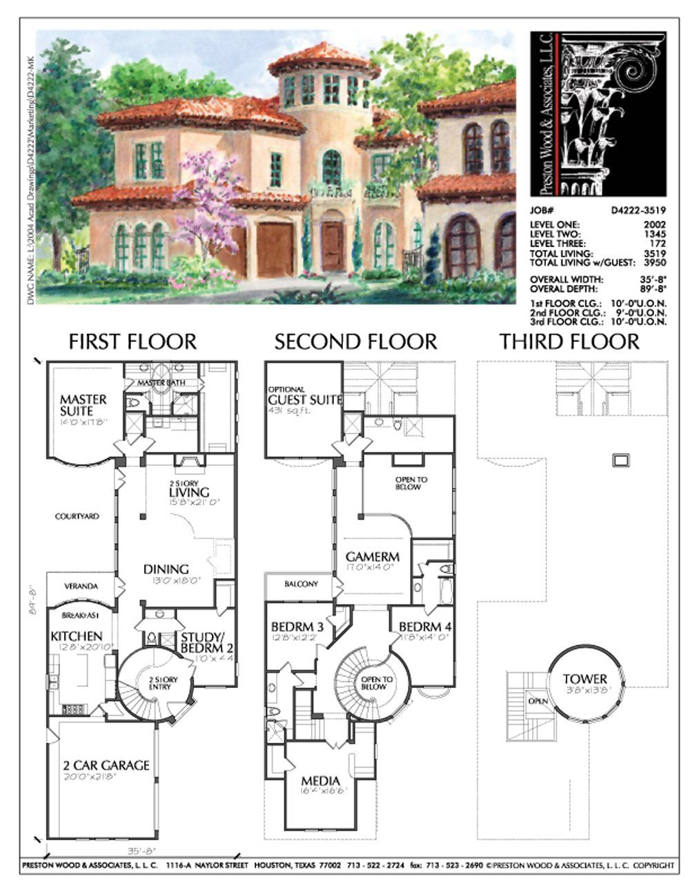 2 1 2 Story Urban Home Plan D4222 House Blueprints Mediterranean House Plans Mediterranean Homes