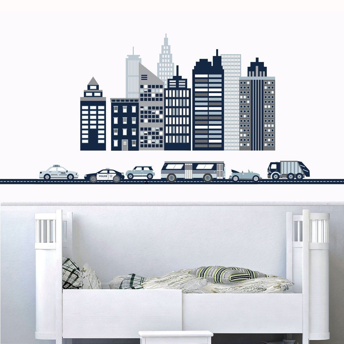 Cityscape Wall Decal Skyscraper Decals City Skyline Wall