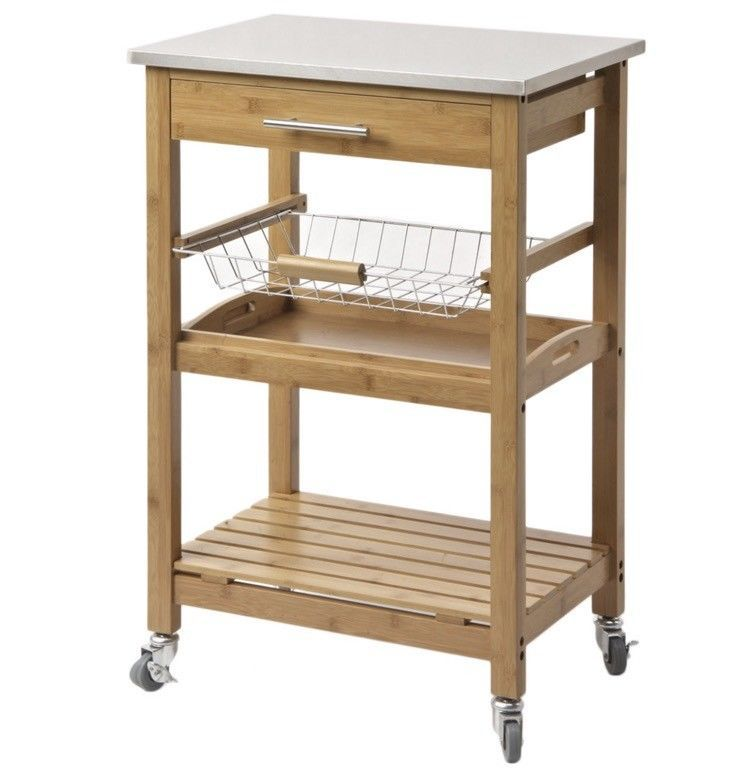 Small Kitchen Cart Farmhouse On Wheels Bamboo Stainless Steel Top Storage Shelf Boraamaya キッチンワゴン キッチン