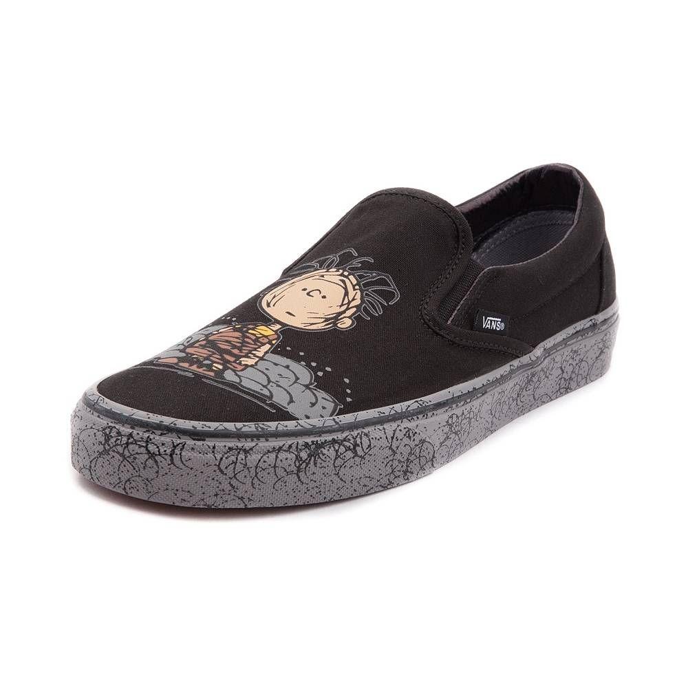 Vans Slip On Peanuts Pig-Pen Skate Shoe - Black Gray - 497150 ... f618afa06