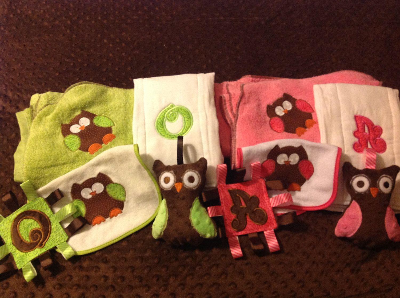 Personalized baby gift towel owl bib burp cloth and mini tag a personalized baby gift towel owl bib burp cloth and mini tag negle Images