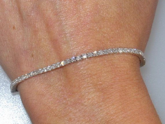 18kt White Gold Genuine Efsi1 Round Diamond By Pristinecustomrings 1690 00 Diamond Bracelet Design Tennis Bracelet Diamond Diamond Bracelet