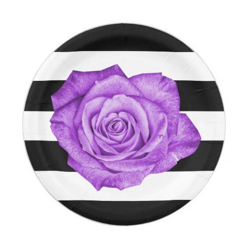 Modern Purple Rose Black White Striped Wedding Paper Plate  sc 1 st  Pinterest & Modern Purple Rose Black White Striped Wedding Paper Plate | Black ...