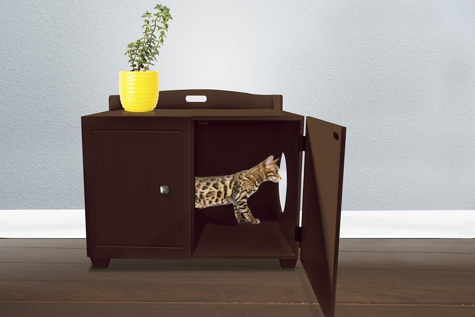 Tiger Tough Classic Bench Hidden Cat Litter Box Enclosure Espresso Chewy Com Litter Box Furniture Dog Crate End Table Cat Litter Box Furniture
