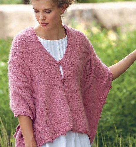 Free Pattern: Five-Way Cable Shrug by Lily M. Chin.