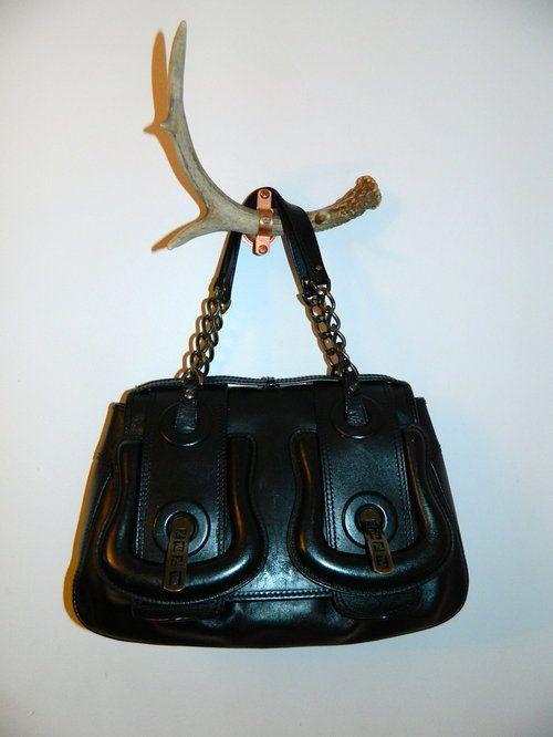 0ab2105403 black leather FENDI B Buckle bag purse -  531