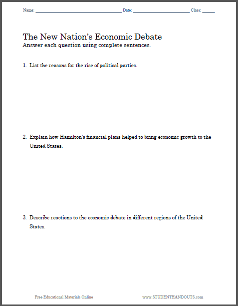 001 New Nation's Economic Debate Essay Questions Free to