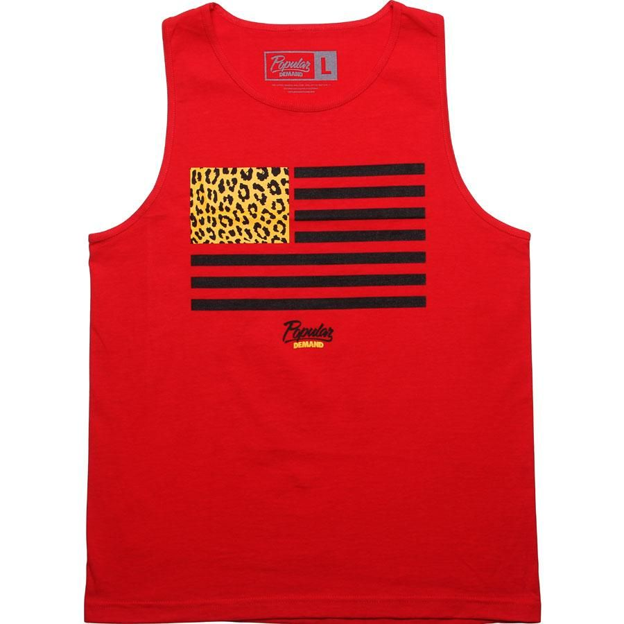 Popular Demand Cheetah Flag Tank Top in red