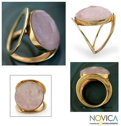 Gold vermeil rose quartz cocktail ring, 'Rose Moon' - 18k Gold Vermeil Rose Quartz Cocktail Ring