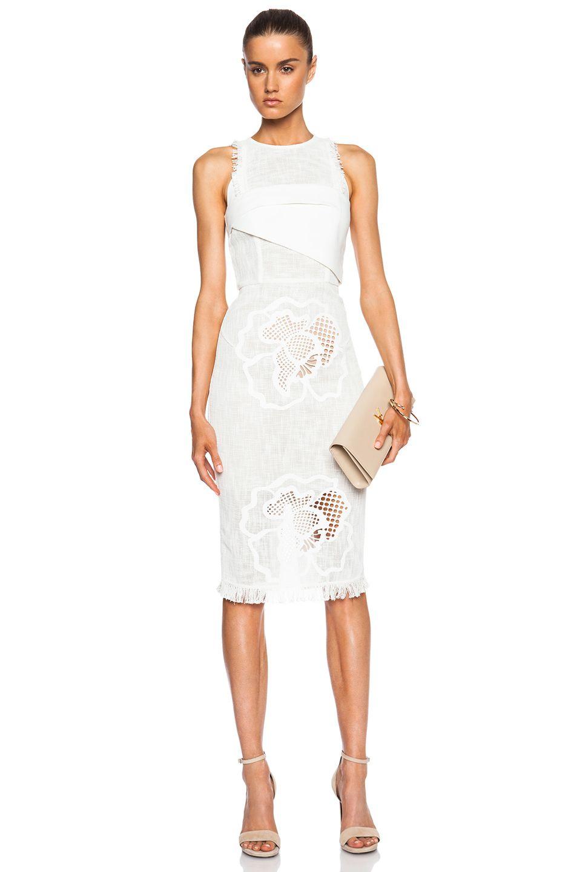 2c305ea54c Image 1 of Roland Mouret Abersley Dress in White Hibiscus   Spring ...