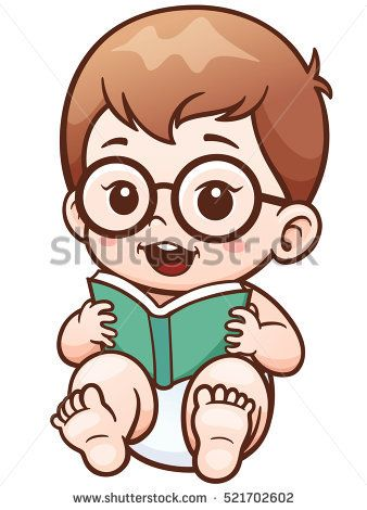 Vector Illustration Of Cartoon Baby Reading A Book Babies