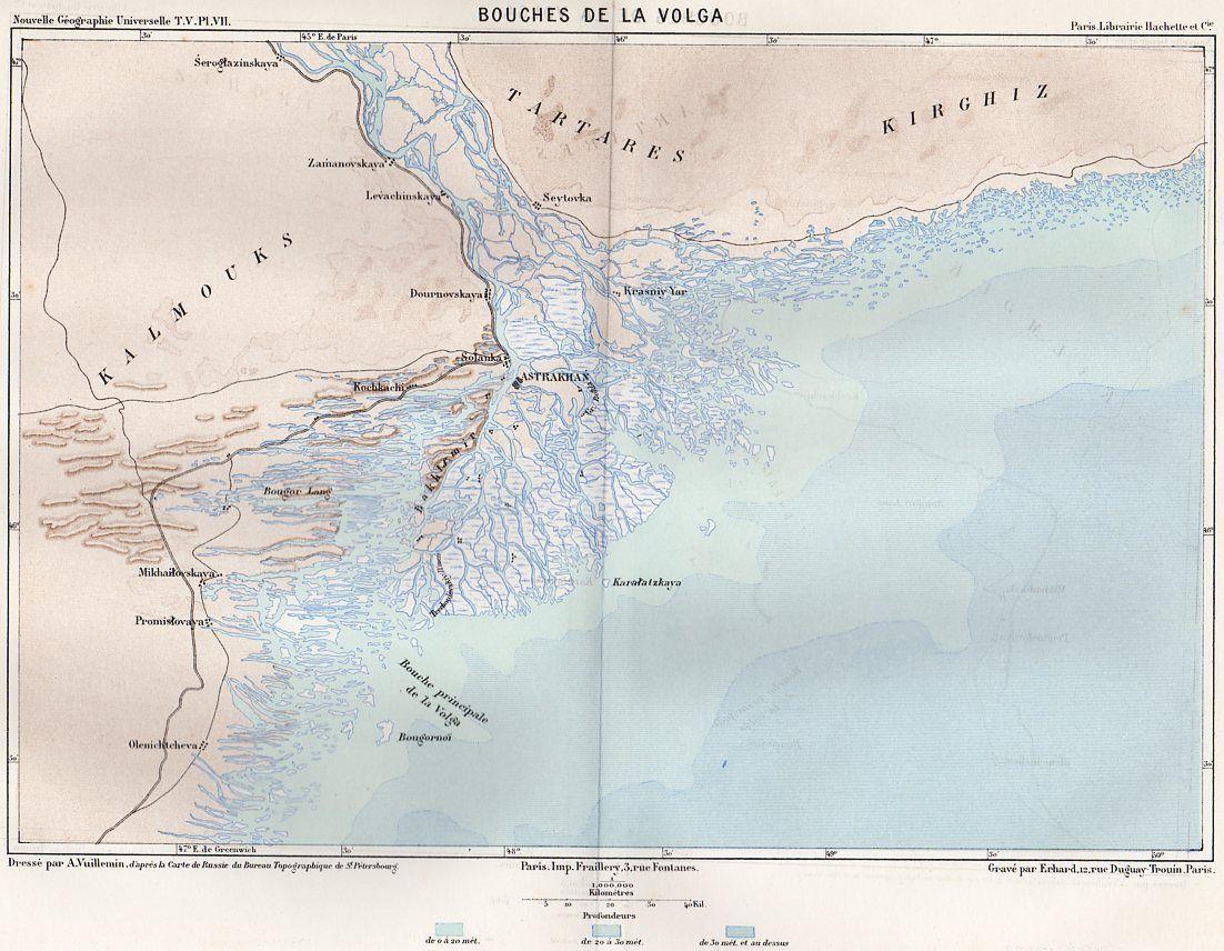 Astrakhan Bouches DE LA Volga Carte MAP Plan Russie Russia Image
