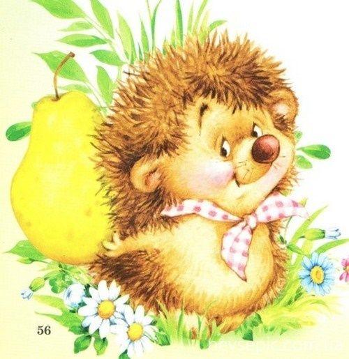 Днем, детские открытки с ежиками