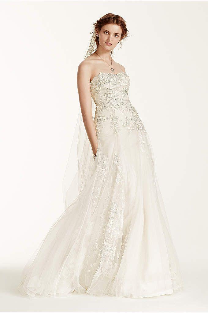 Strapless Satin A-Line Wedding Dress - Davids Bridal   Wedding ...