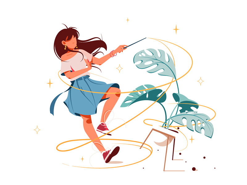 Girl with magic wand turning potted plant into som