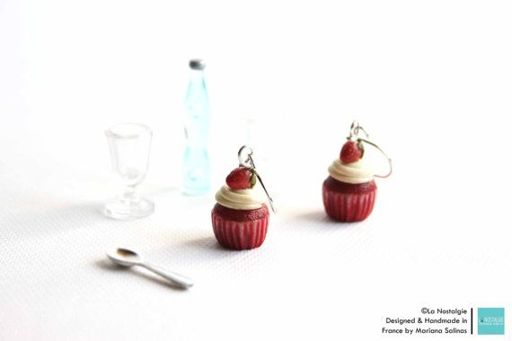 Hey, I found this really awesome Etsy listing at https://www.etsy.com/listing/220374907/red-velvet-cupcake-dangle-earrings