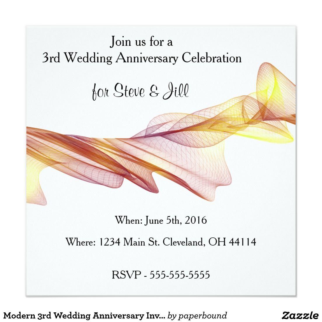 Modern 3rd Wedding Anniversary Invitation Zazzle Com Anniversary Invitations 3rd Wedding Anniversary Wedding Anniversary Invitations