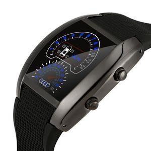 Fashion Aviation Turbo Dial Flash Led Watch Sports Car Meter