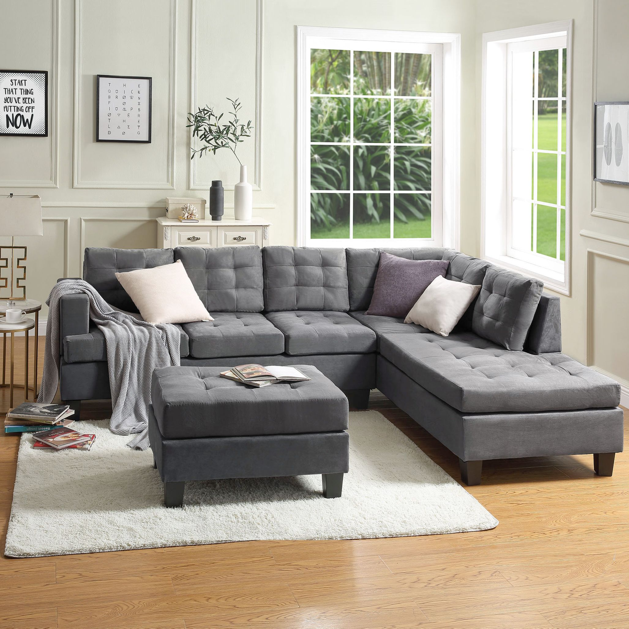 Blue 3 Piece Sectional Sofa With Storage Ottoman For Living Room Segmart Contemporary Couch Thick Cushions Sofa Beds With Solid Wood Frame And Resin Legs For L In 2020 Sectional Sofas Living #sectional #living #room #suit