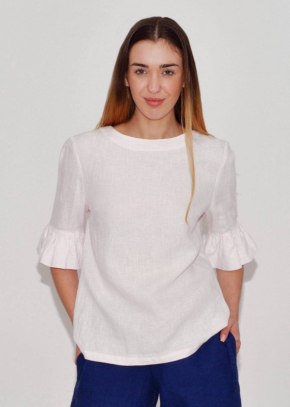 bb8744d219b Linen Blouse Fashionable/ Flax Blouse With Frill Sleeves/ Blouse Elegant/  Linen Shirt 3/4 Sleeves/