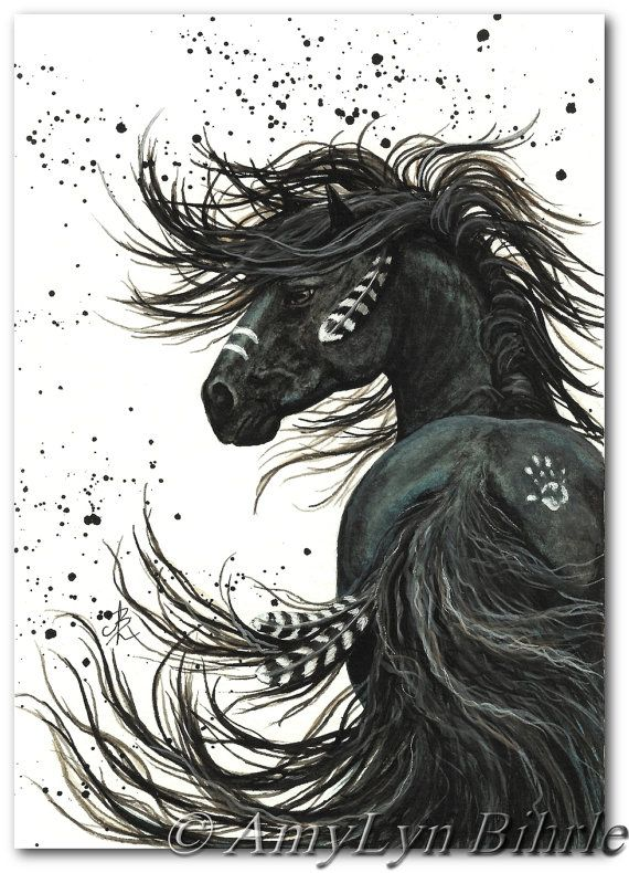 Majestic black stallion native american spirit horse art giclee print by bihrle mm135