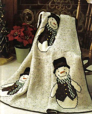 Crochet Pattern Afghan Throw Fun Snowmen Christmas Christmas